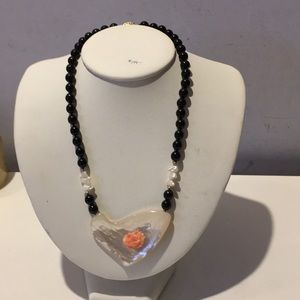 Jewelry - Genuine hand knotted onyx fresh water pearl shell